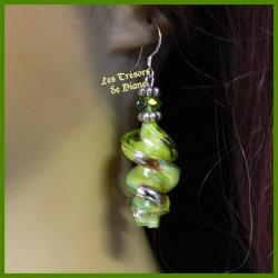 Boucles d'oreilles en verre soufflé et cristal Swarovski