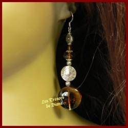 Boucles d'oreilles en verre et cristal chocolat