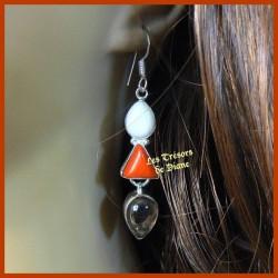 Boucles d'oreilles PRESTIGE en BAMBOU DE MER, JADE et QUARTZ