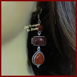 Boucles d'oreilles PRESTIGE en CORNALINE naturelle serti argent