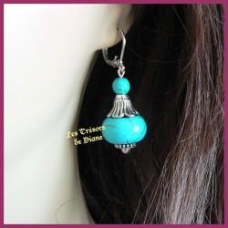 Boucles d'oreilles BIZANTINE en turquoise naturelle