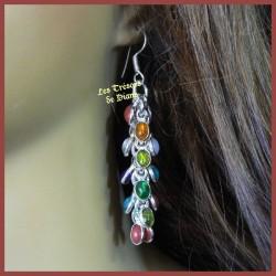 Boucles d'oreilles prestige MULTI-GEMS et argent