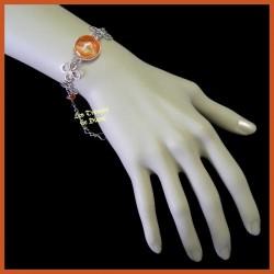 Bracelet du Pérou avec demie-sphère de verre orange
