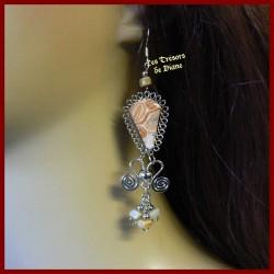 Boucles d'oreilles du Pérou en JASPE LEOPARDINE