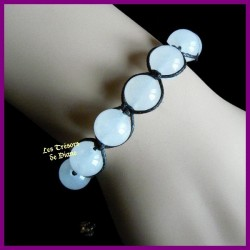 Bracelet Shamballa en jade naturel blanc