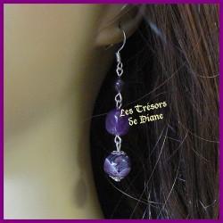 Boucles d'oreilles en AMETHYSTE naturelle