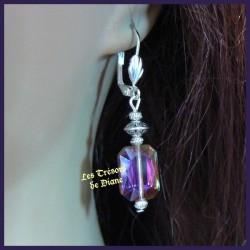 Boucles d'oreilles en cristal irisé faceté
