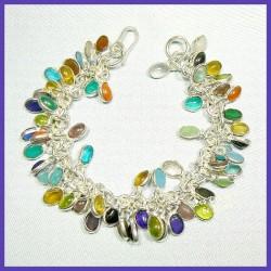 Bracelet prestige MULTI-GEMS et argent