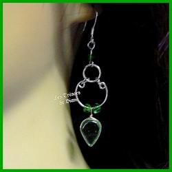 Boucles d'oreilles du Pérou en verre vert