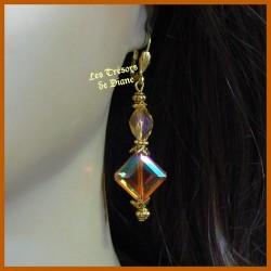 Boucles d'oreilles en cristal irisé faceté orange