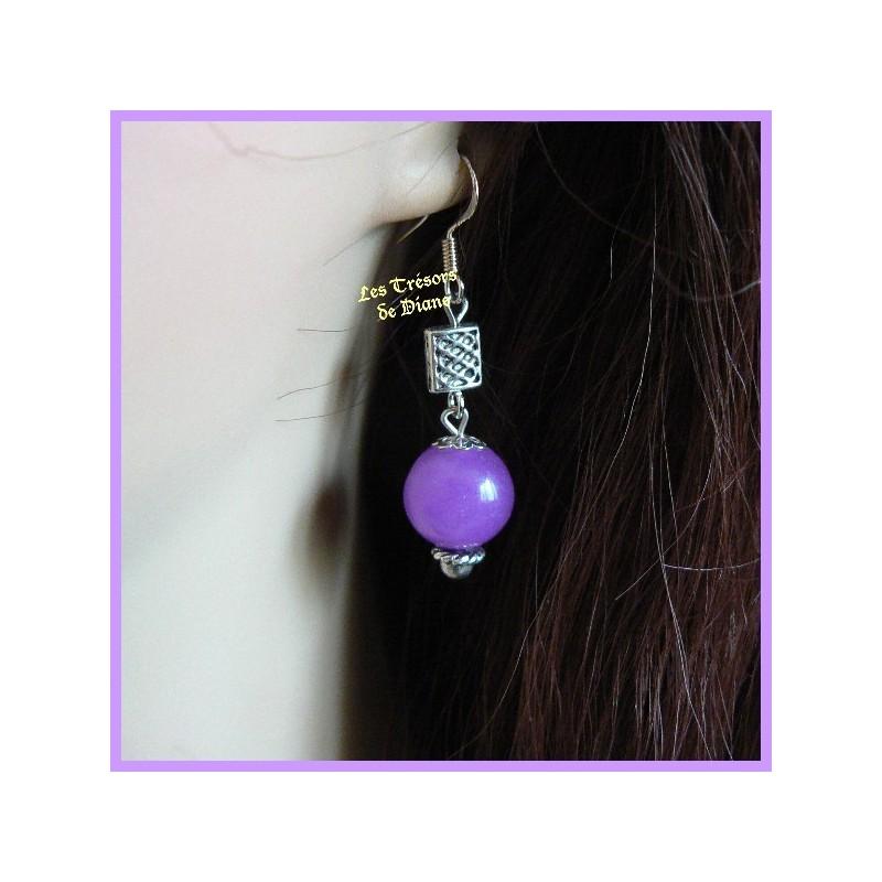 Boucles d'oreilles en jade violet
