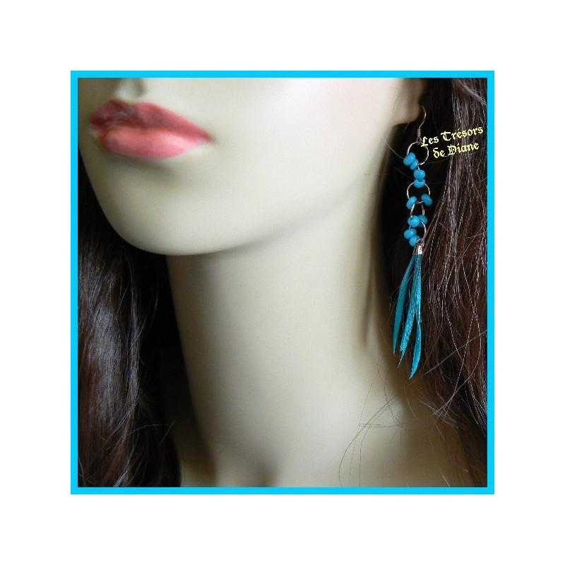 Boucles d'oreilles en plumes véritables