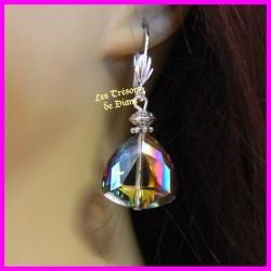Boucles d'oreilles en cristal faceté triangulaire