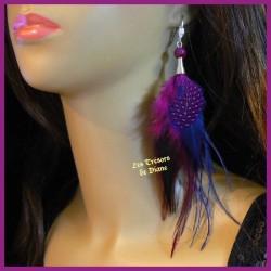 Boucles d'oreilles FROU FROU en plumes et agate