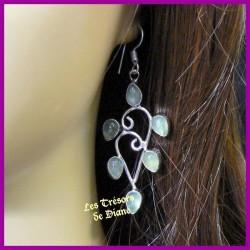 Boucles d'oreilles en PREHNITE naturelle