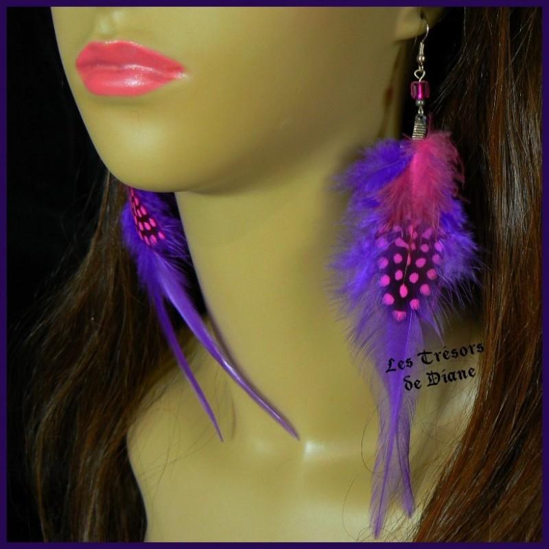 Boucles d'oreilles FROU FROU en plumes véritables