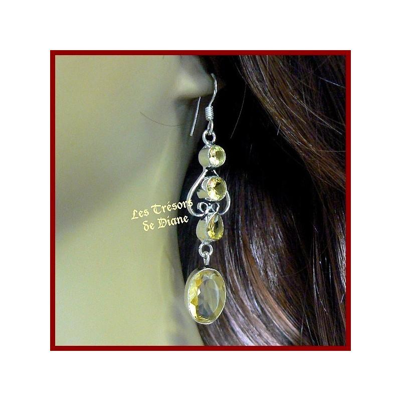 Boucles d'oreilles PRESTIGE en CITRINE