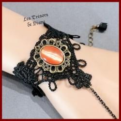 Bracelet en DENTELLE et OEIL DE CHAT