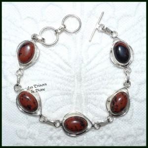 Bracelet en OBSIDIENNE MAHAGONY naturelle et ARGENT