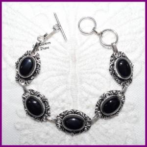 Bracelet en ONYX naturelle et ARGENT
