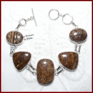 Bracelet en BRONZITE naturelle et ARGENT