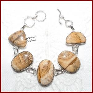 Bracelet en JASPE PAYSAGE naturel et ARGENT