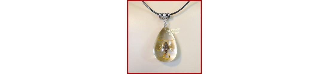 Collier et pendentifs insolites avec insectes, scorpions et scarabees véritables